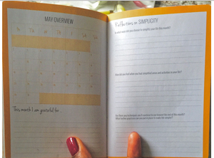 page of diary month over view what I am greatful for