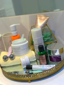 Skincare Products on Tray