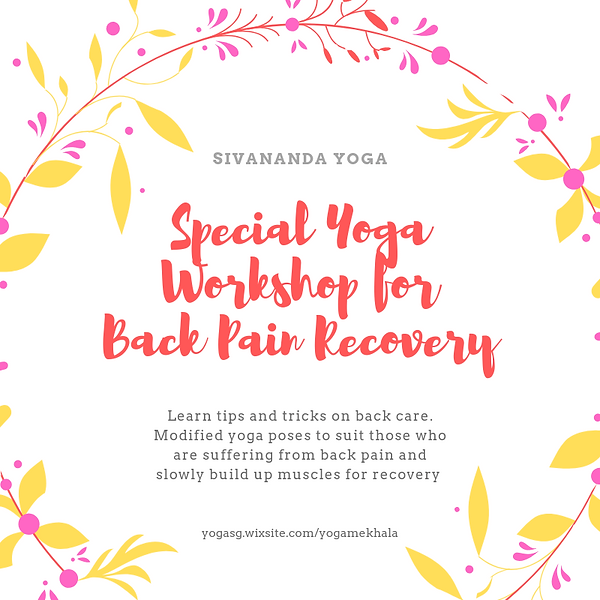 Special Yoga Workshop for Back Pain Reco