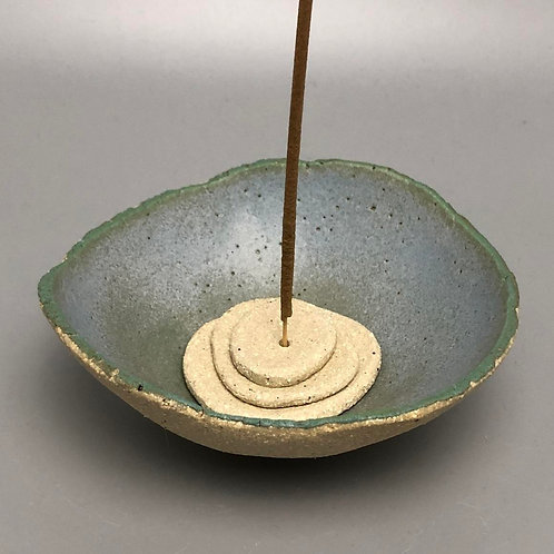 Ceramic Incense Holder Natural & Jade