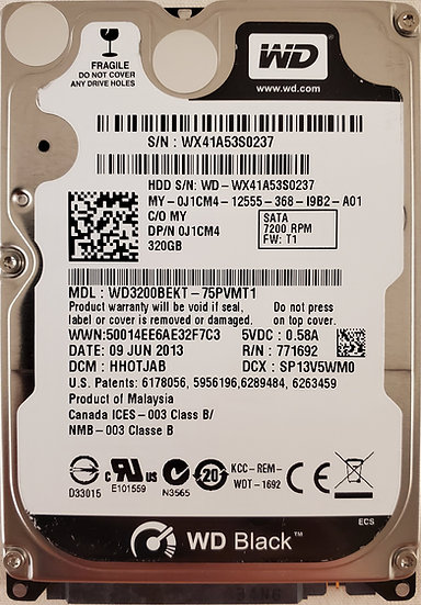"""WD Black 320GB 2.5"""" SATA HDD"""