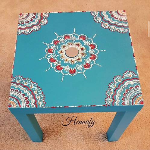 Customized Hand Painted, Henna Inspired Side Table
