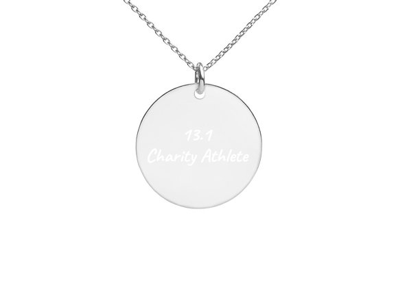 Start Giving Local Charity 13.1 Engraved Silver Disc Necklace