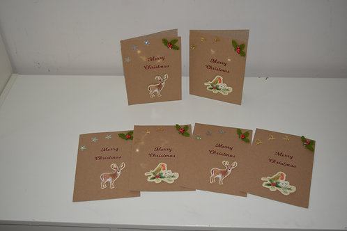 Hand made Reindeer and Robin Christmas Cards