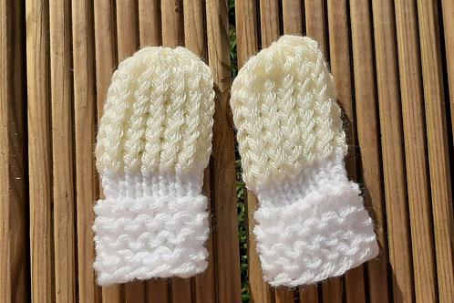 Pastel Yellow and White Super-soft Childrens mittens