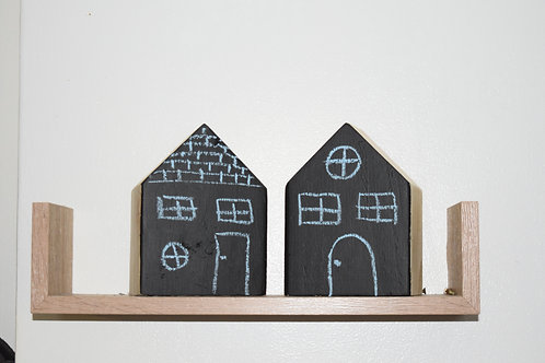 Children's chalk board wooden block houses