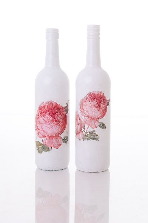 painted wine bottles with pink rose decoupage