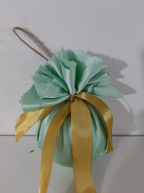 pale green satin and gold ribbon bauble