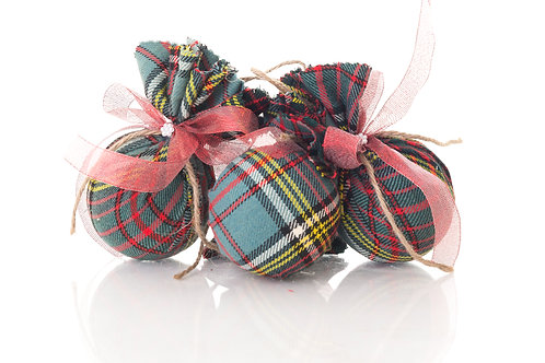 Fabric Gingham Christmas Baubles
