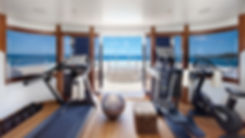 Technogym fitness equipment over looking sea on yacht