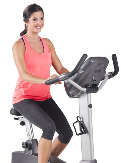 Spirit CU800 ENT upright bike used by woman