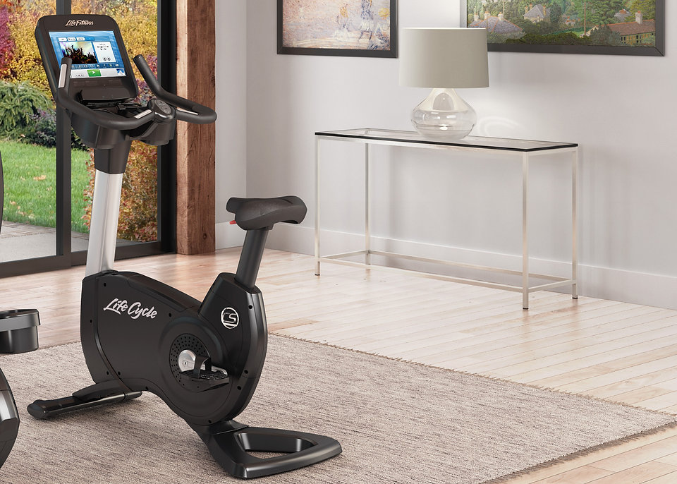 Life Fitness Platinum Club Upright Lifecycle in stylish room