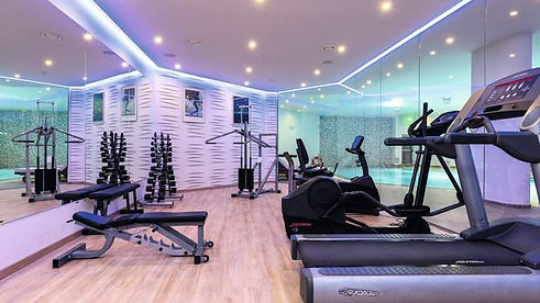 Life Fitness fitnss equipment with mood lighting at the side of swimming pool