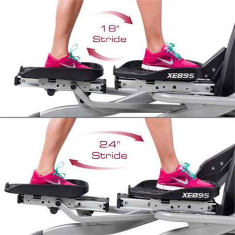 "Spirit XE895 Adjustble Stride Elliptical  showing 18"" stride and 24"" stride"