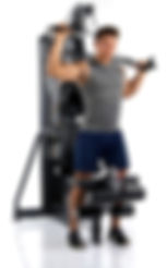 Inspire M3 home gym with man shoulder pressing