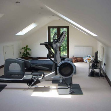 Life Fitness equipment and Concept 2 in attic