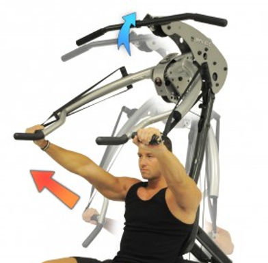 Inspire BL1 Body Lift Home Gym with male model performing bech press upper body only can be seen