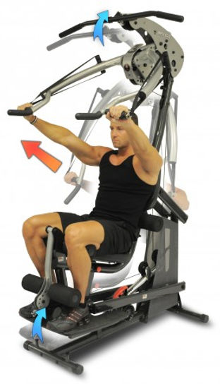 Inspire BL1 Body Lift Home Gym with male model performing bech press total body can be seen