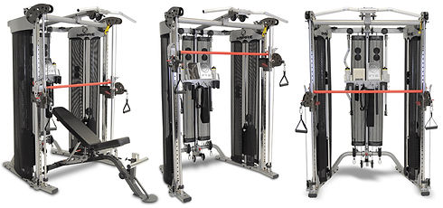 Inspire FT2 Functional Trainer and Smith Machine showing red Smith bar in various positions
