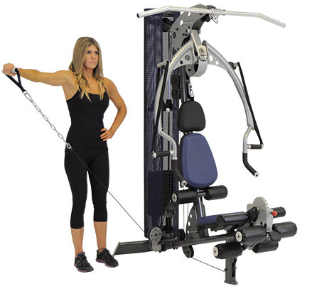 Inspire M2 gym with female model performing lateral raises from lower pulley at side of machine