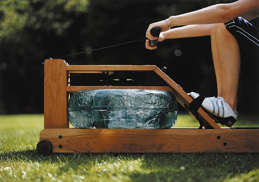 WaterRower water tank outside on grass