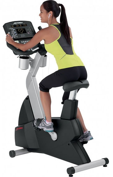 Life Fitness Club upright bike being used by woman