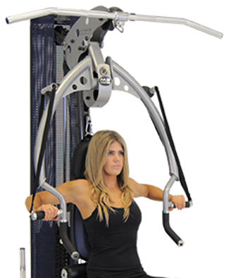 Inspire M2 gym showing female model performing bench press upper body only shown