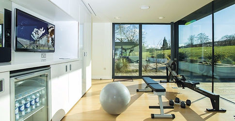 Concepte 2 rower and workout bench in room with glass doors