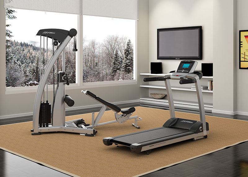 Life Fitness T3 treadmill in room with winter setting