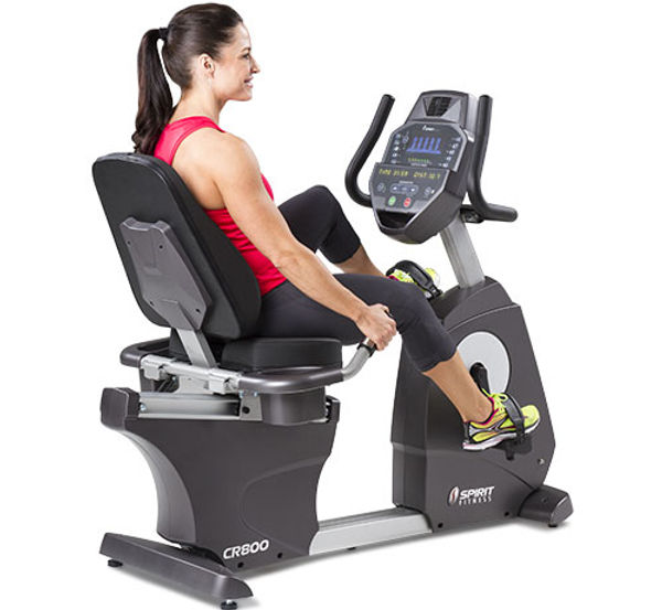 Spirit CR800 Recumbent Bike with female model