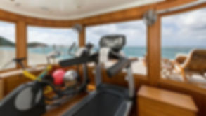 Life Fitness fitness equipment over looking deck and sea on yacht