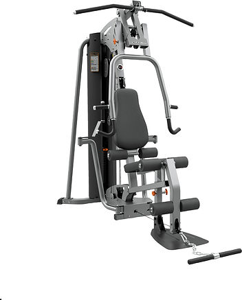 Life Fitness Home gym with adjustable bench press and seatd row, leg unit, pec dec and lat pulldown