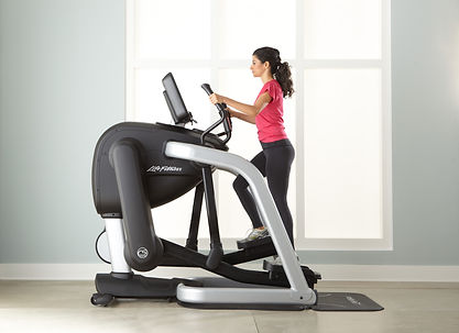 Life Fitness Flexstride Variable Strider showing woman using short stride