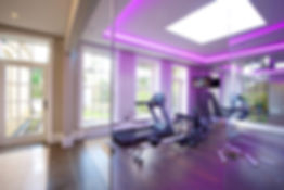 Fitness equipment with overhead mood lighting
