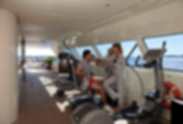 Fitness equipment on deck of yacht