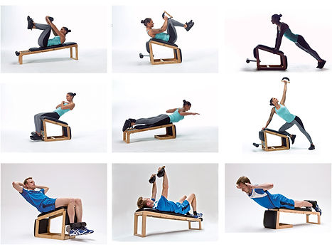 Nohrd Tri Trainer with male and female model showing various exercises that can be performed on the bench