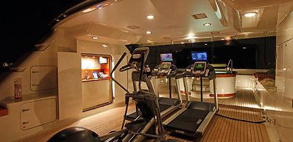Precor fitness equipment on deck of yacht