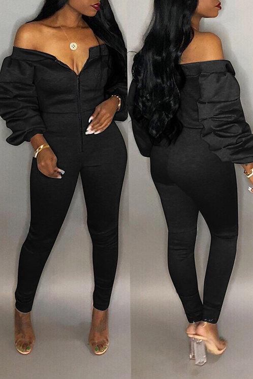 IAmShe Trendy Dew Shoulder Skinny Black One-piece Jumper