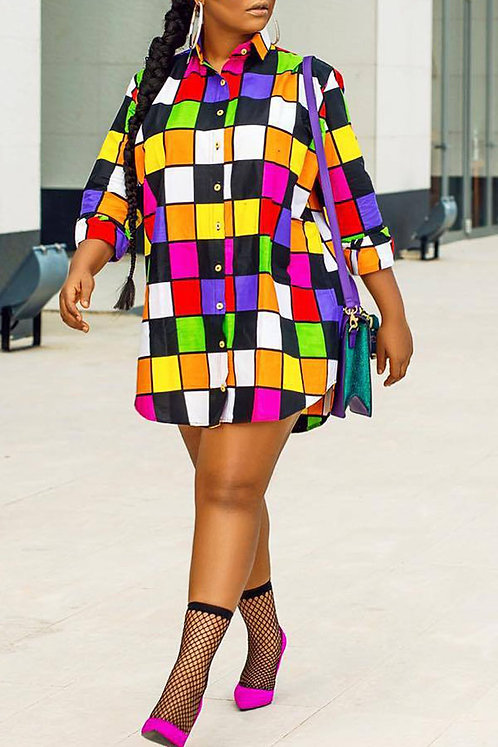 IAmShe Casual Plaids Patchwork Multicolor Mini Shirt Dress