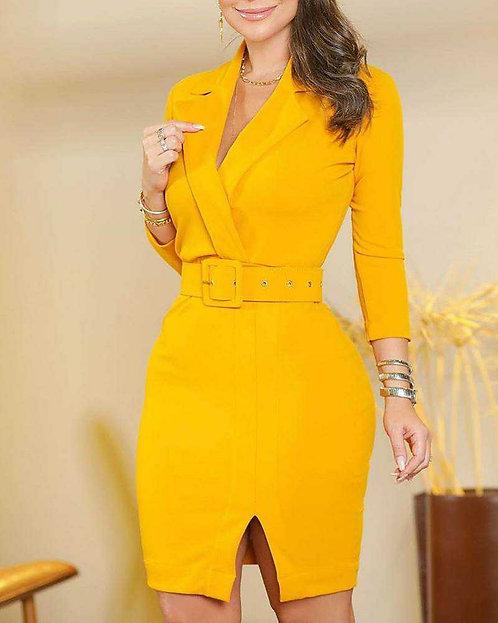 IAmShe Notched Neck Slit Blazer Dress