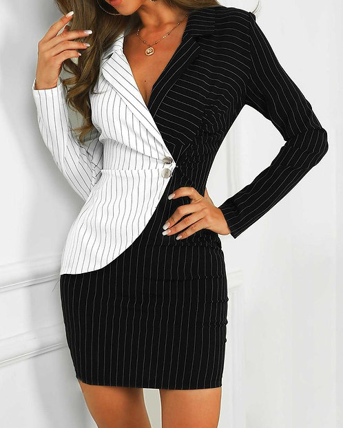 IAmShe B&W Contrast Striped Insert Blazer Dress