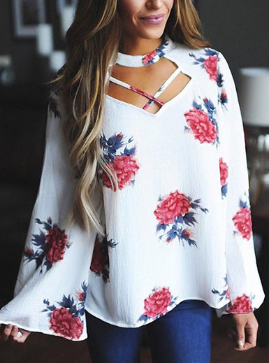 IAmShe Women's Floral Top - Cutout  Bell Sleeves