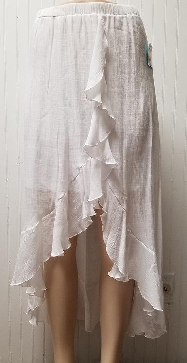 I Am She Asymmetrical Sheer Skirt White