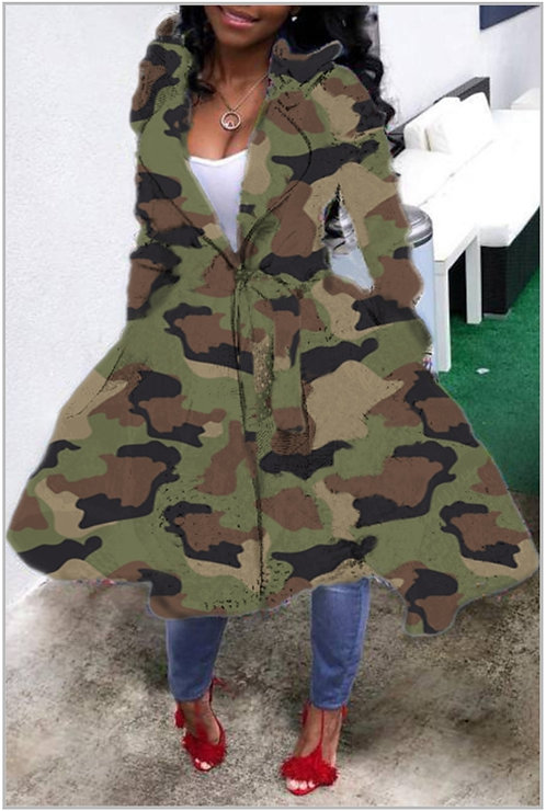 PREORDER ONLY IAmShe Camouflage Printed Long Coat