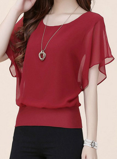IAmShe Chiffon Blouse - Short Sleeve Batwing Cut