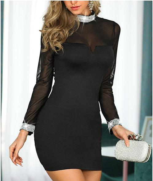 IAmShe Semi Sheer Long Sleeve Party Dress