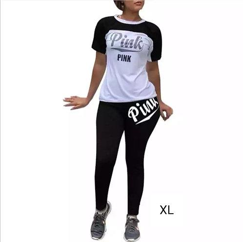 IAmShe Printed Black/white Two-Piece Pants Set