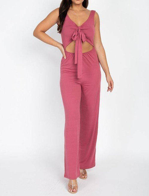 IAmShe One Piece Back Out Front Tie Jump Suit