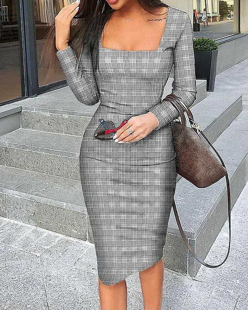 IAmShe Long Sleeve Square Neck Midi Dress