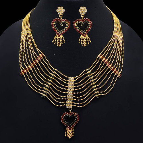 IAmShe Multicolor Rhinestone Gold Necklace & Earring Set